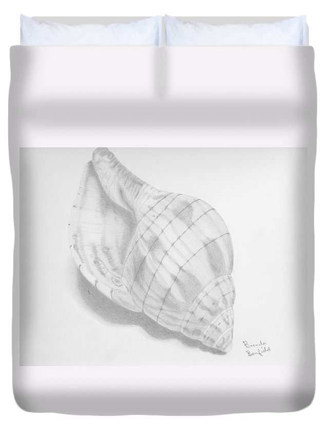 Nature Duvet Cover featuring the drawing Shell by Brenda Bonfield