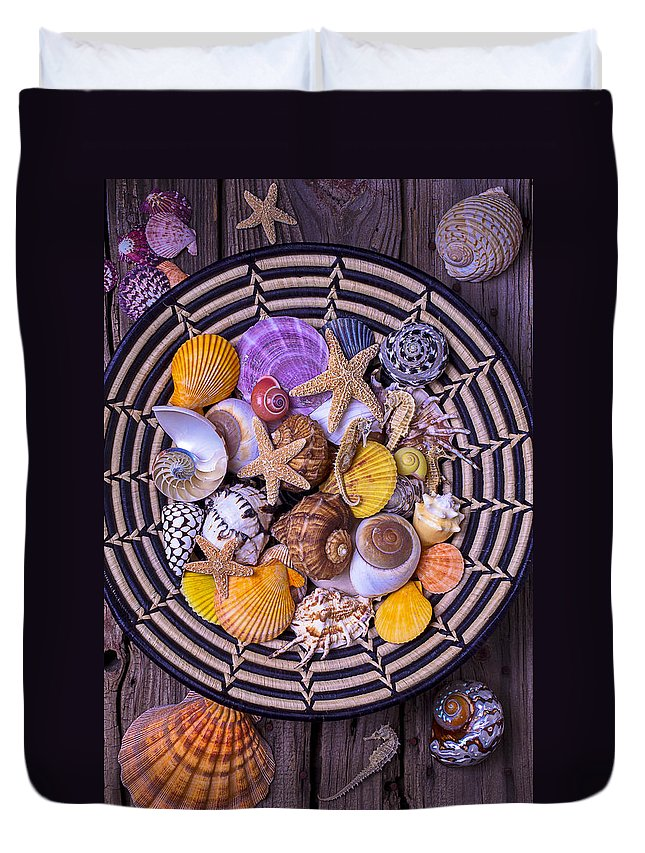 Sea Shells Starfish Duvet Cover featuring the photograph Shell Collecting by Garry Gay