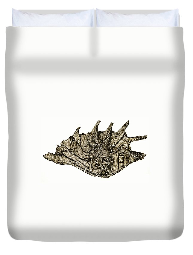 Shell Duvet Cover featuring the drawing Shell by Daniel P Cronin