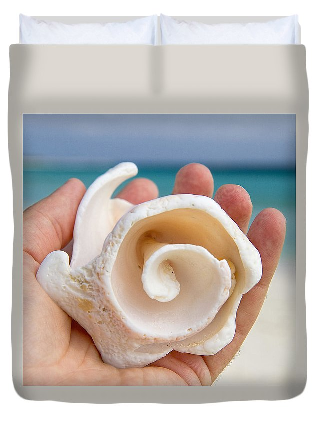 Hand Duvet Cover featuring the photograph Shell In Hand Cozumel by For Ninety One Days