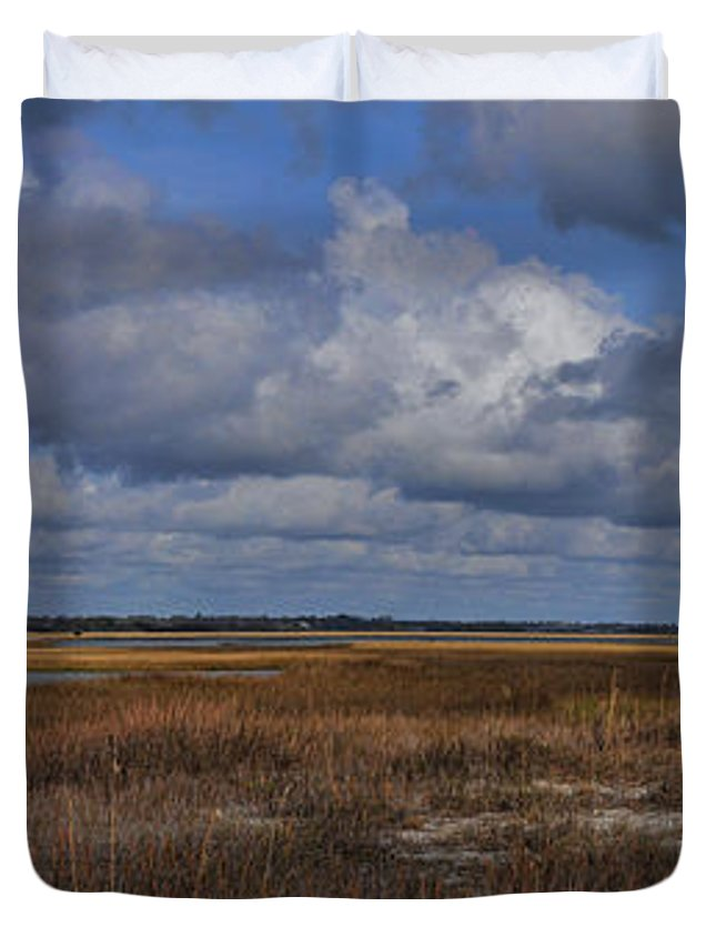 Wright Duvet Cover featuring the photograph Shell Island To Figure Eight Panorama by Paulette B Wright