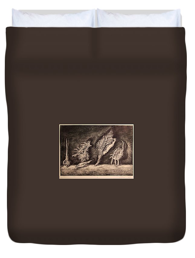 Etching Duvet Cover featuring the painting Shells by Leonid Stroganov