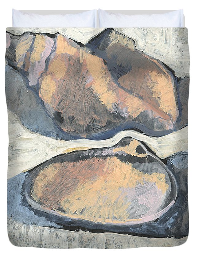 Black Duvet Cover featuring the painting Shells With Black Ground by Richard Glen Smith