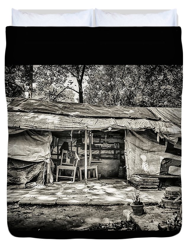 Shelter Duvet Cover featuring the photograph Sheltered by Scott Wyatt