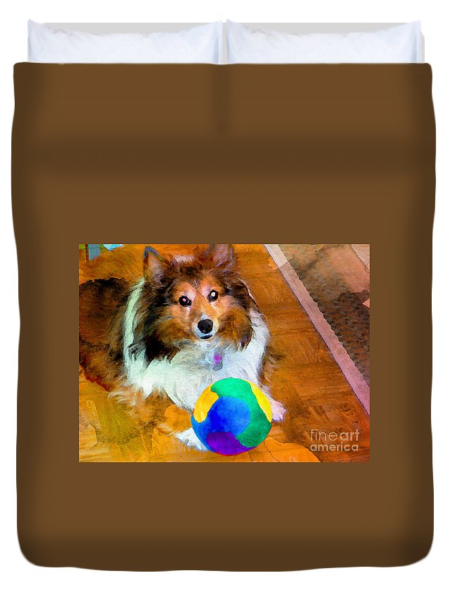 Sheltie Duvet Cover featuring the photograph Sheltie With Ball by Scott Hervieux