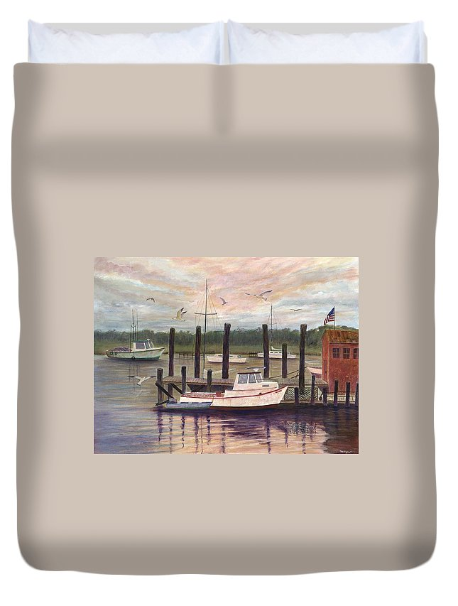 Charleston; Boats; Fishing Dock; Water Duvet Cover featuring the painting Shem Creek by Ben Kiger