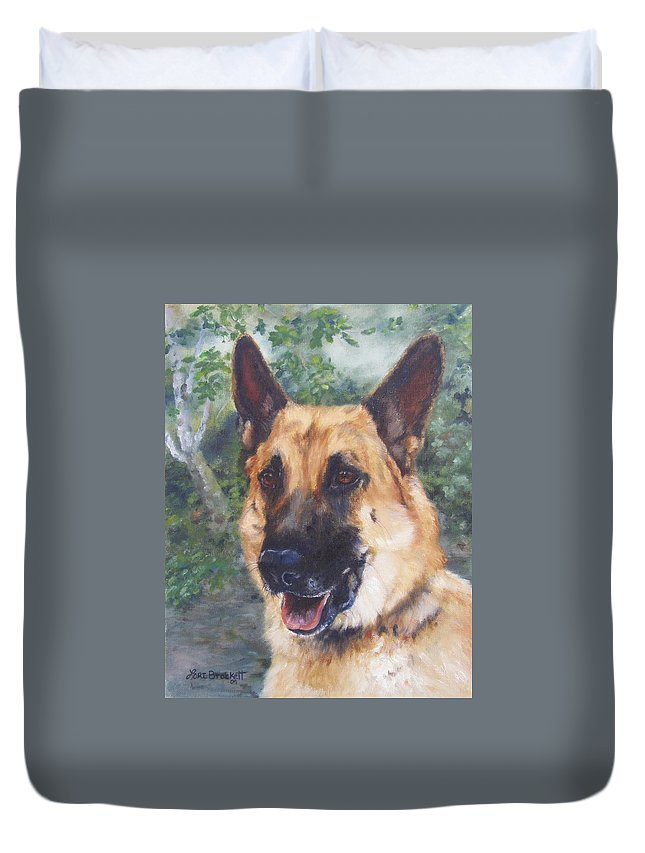German Shepard Duvet Cover featuring the painting Shep by Lori Brackett