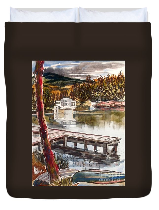 Shepherd Mountain Lake In Twilight Duvet Cover featuring the painting Shepherd Mountain Lake In Twilight by Kip DeVore
