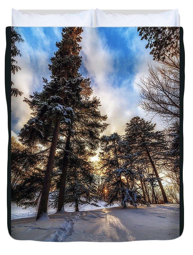 Winter Sunset Duvet Cover featuring the photograph Shining Through by Mark Papke