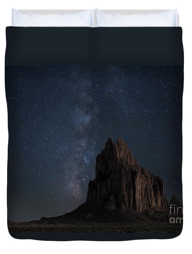 Stars Photography Duvet Cover featuring the photograph Shiprock by Keith Kapple
