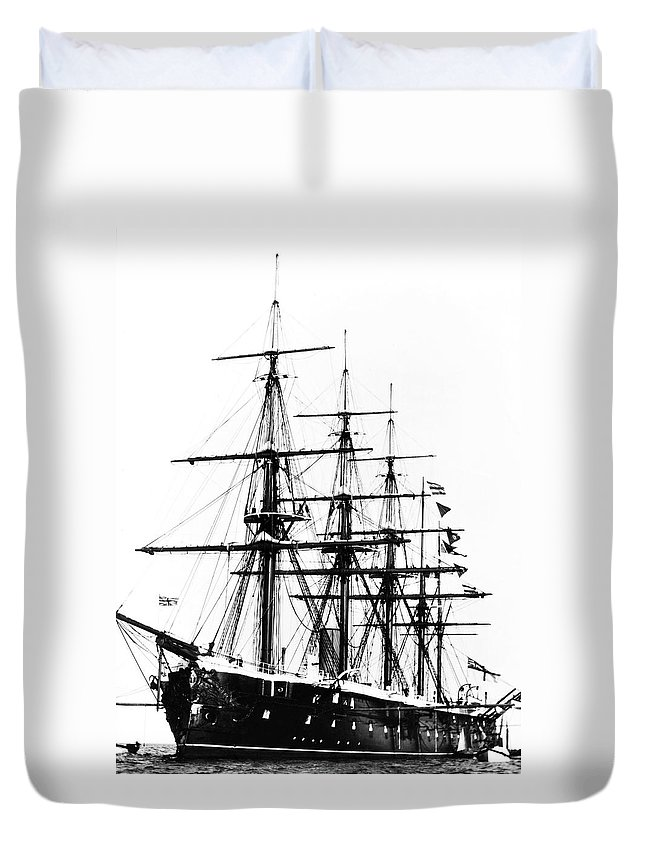19th Century Duvet Cover featuring the photograph Ships Hms 'agincourt by Granger