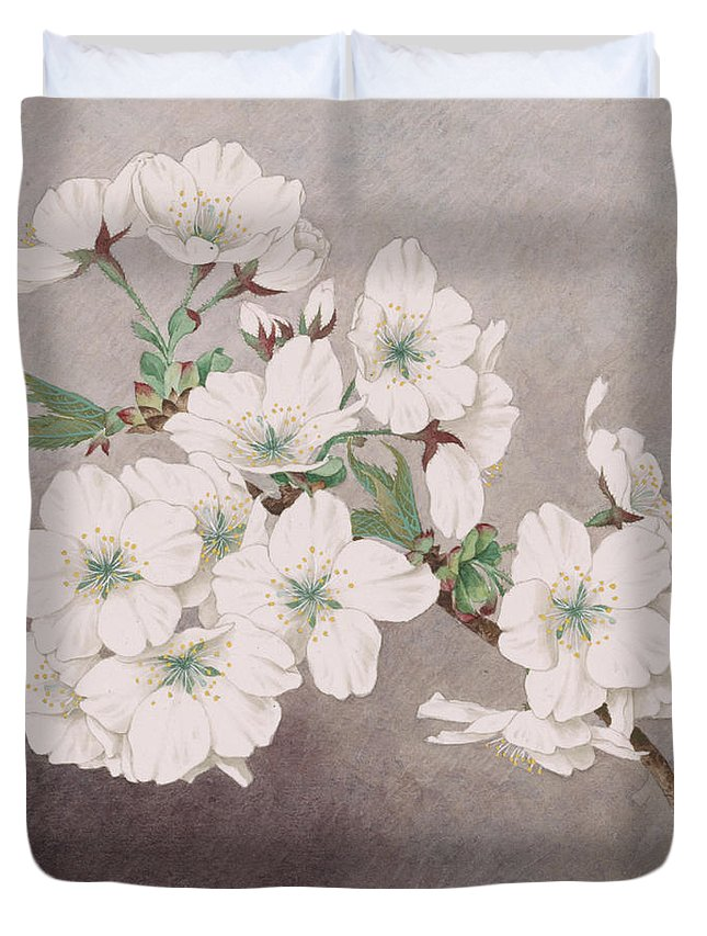 Japan Duvet Cover featuring the painting Shirayuki - White Snow - Vintage Japan Watercolor by Just Eclectic