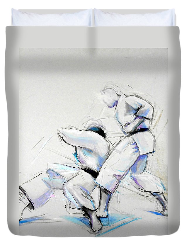 Shita Duvet Cover featuring the painting Shita by Lucia Hoogervorst