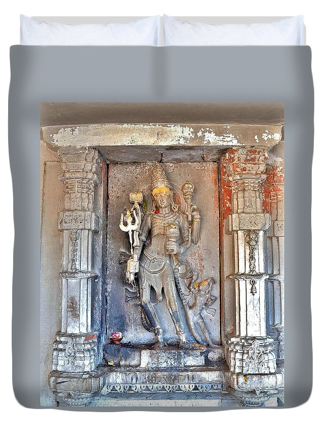 Shiva Duvet Cover featuring the photograph Shiva Statue - Omkareshwar India by Kim Bemis