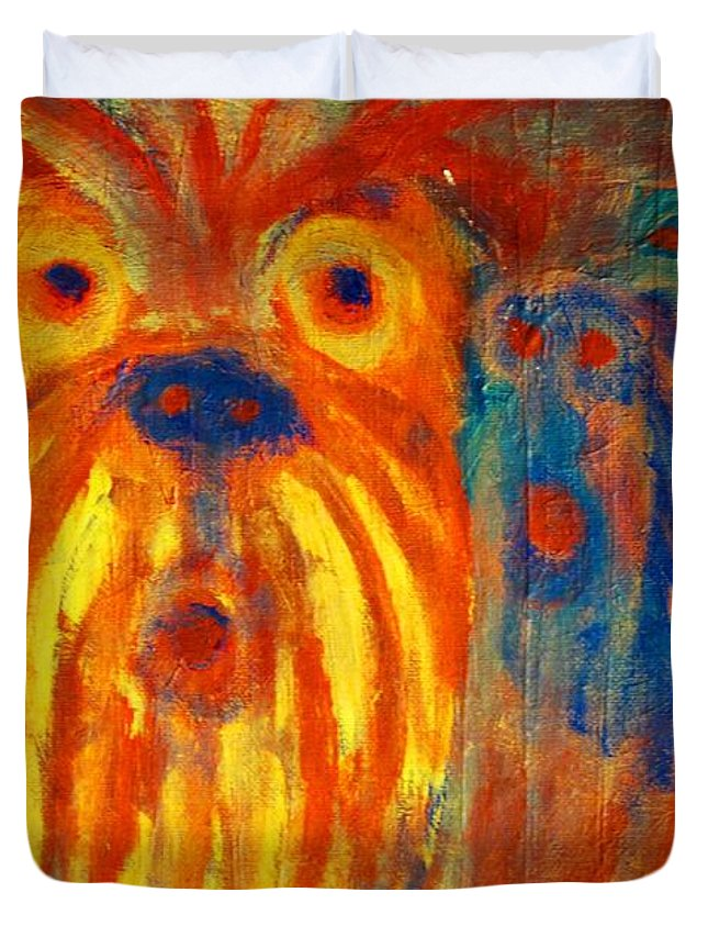 Shoch Duvet Cover featuring the painting Listen To Them Whispering The Most Shocking News Or Some Old Gossip by Hilde Widerberg