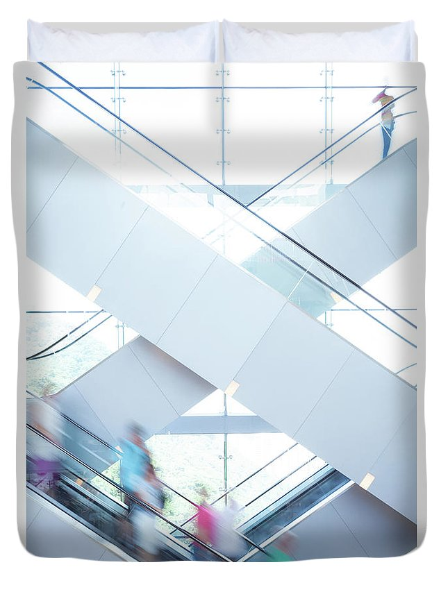 Buy Duvet Cover featuring the photograph Shopers In Motion by Uschools