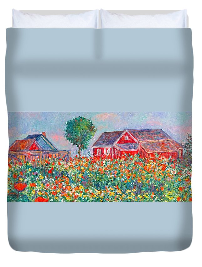 Landscape Duvet Cover featuring the painting Shore Flowers by Kendall Kessler
