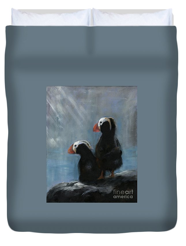 Puffins Duvet Cover featuring the painting Shore Patrol by Sharon Abbott-Furze