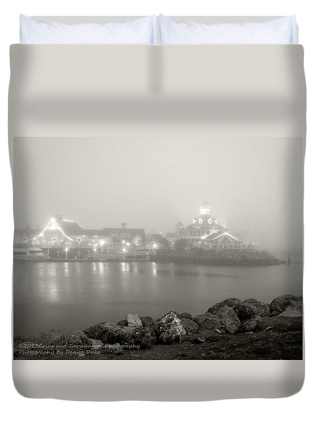 Long Beach Ca Duvet Cover featuring the photograph Shoreline Village In The Fog by Denise Dube