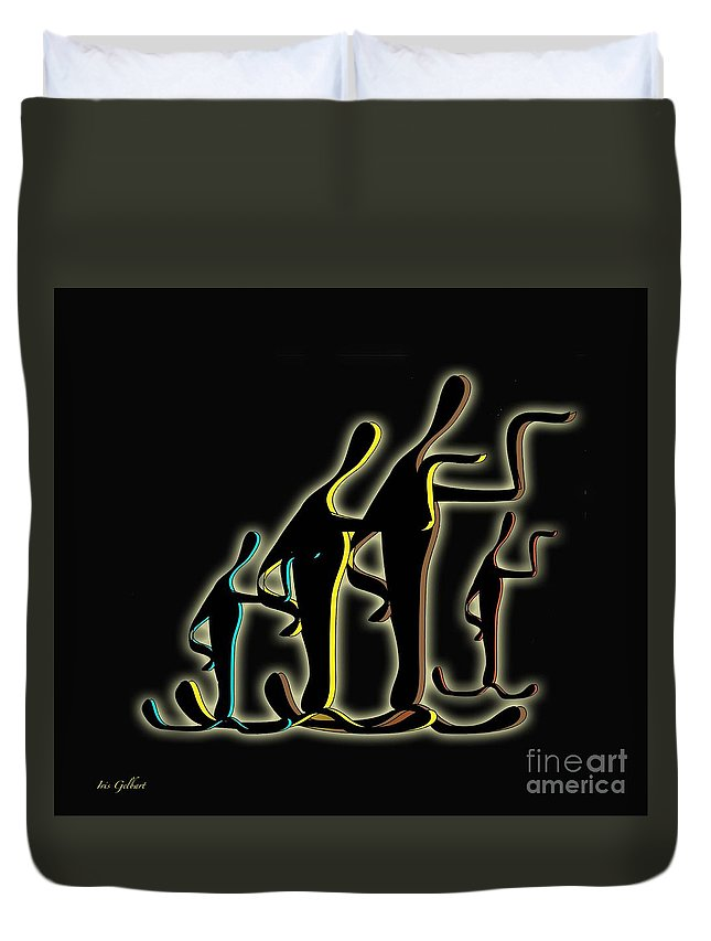 Musical Duvet Cover featuring the digital art Show Time 2 by Iris Gelbart