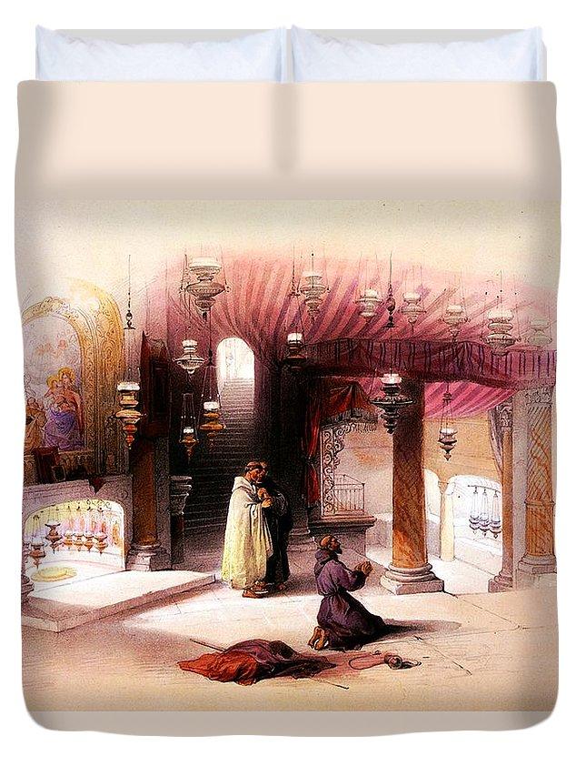 Bethlehem Duvet Cover featuring the photograph Shrine Of The Nativity Bethlehem April 6th 1839 by Munir Alawi