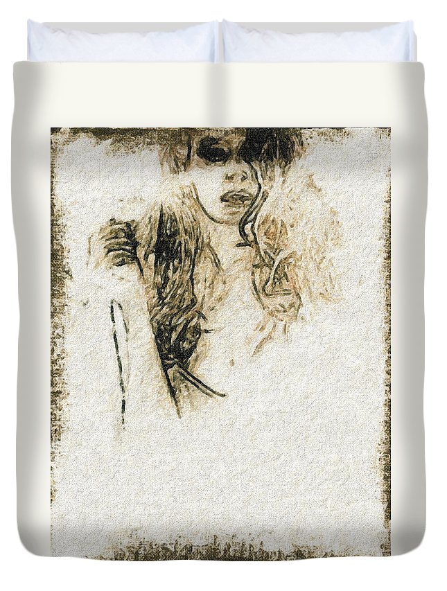 Love Duvet Cover featuring the painting Shroud Of A Lady by John Farr