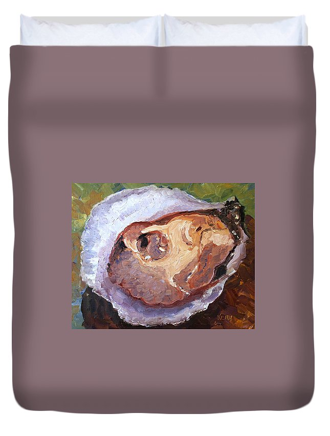 Oyster Duvet Cover featuring the painting Shucked by Keith Wilkie