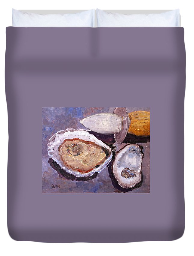 Oyster Duvet Cover featuring the painting Shucking by Keith Wilkie