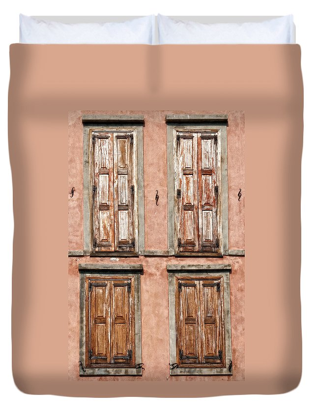Abstract Duvet Cover featuring the photograph Four Wooden Shutters by Roy Pedersen