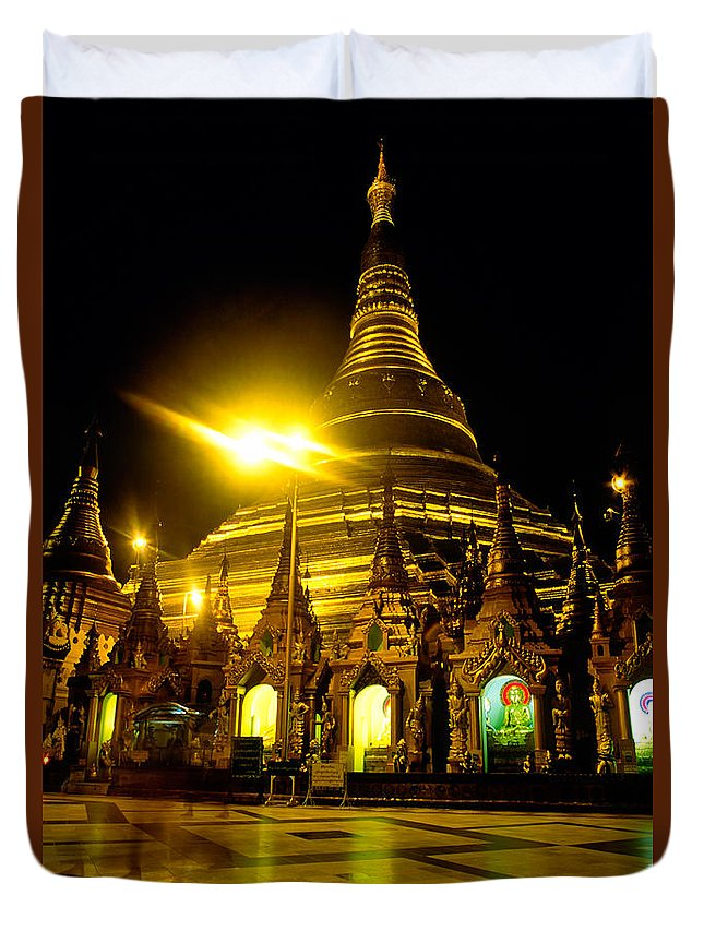 Ancient Duvet Cover featuring the photograph Shwedagon Paya - Yangoon by Luciano Mortula