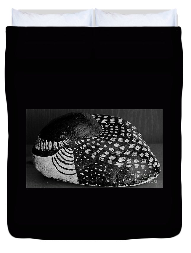 Shy Loon Duvet Cover featuring the photograph Shy Loon - Painted Rock - Seabird - One Of A Kind by Barbara Griffin