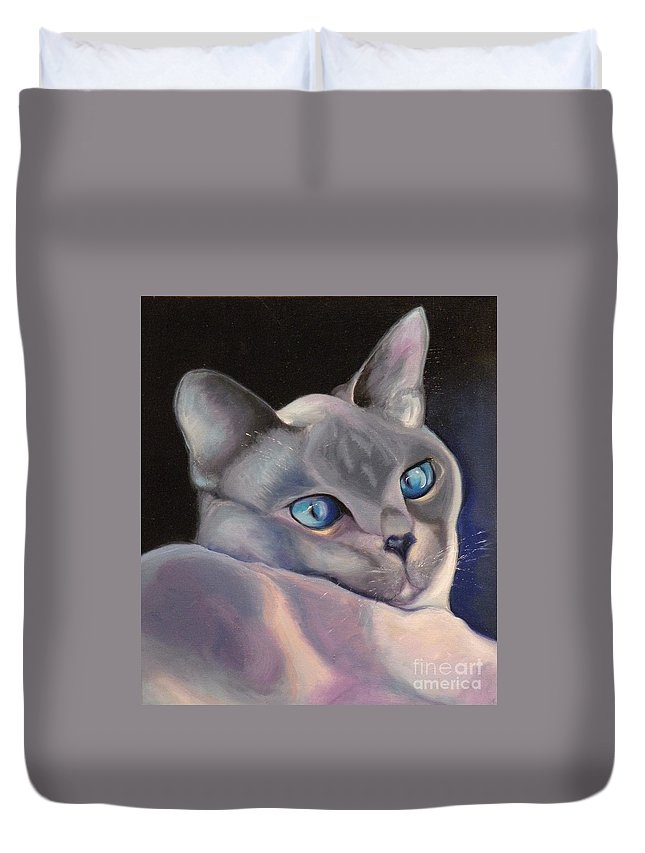 Cat Siamese Greeting Card Duvet Cover featuring the painting Siamese In Blue by Susan A Becker