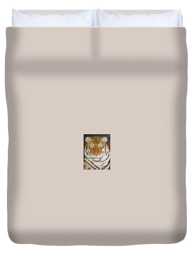 Siberian Tiger Duvet Cover featuring the painting Siberian Tiger by Regan J Smith