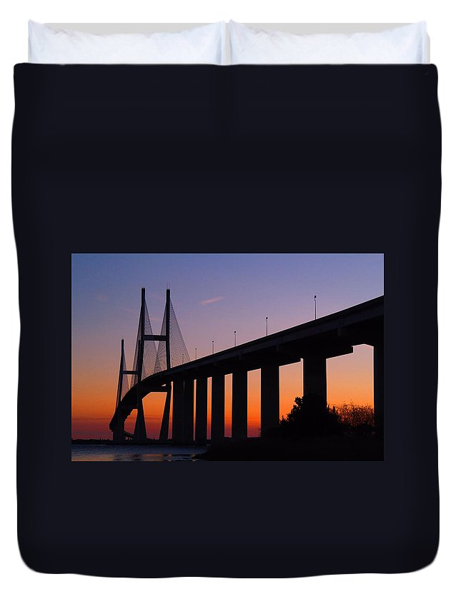 Bridge Duvet Cover featuring the photograph Sidney Lanier Bridge At Sunset by Kathryn Meyer