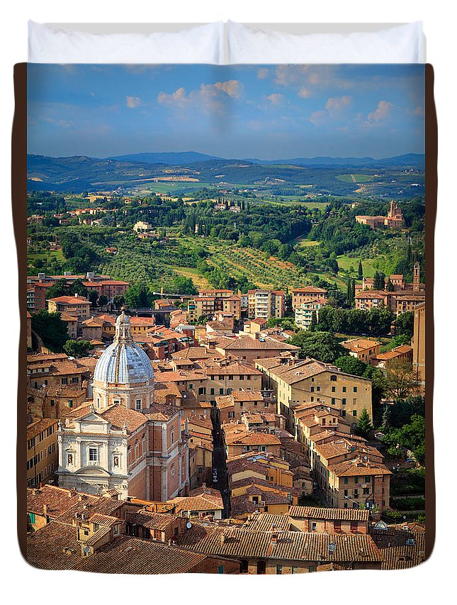 Duomo Duvet Cover featuring the photograph Siena From Above by Inge Johnsson