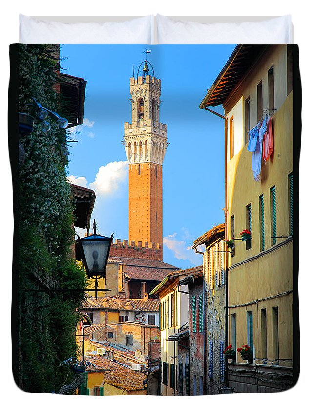 Europe Duvet Cover featuring the photograph Siena Streets by Inge Johnsson