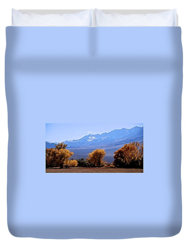 Sierra Nevada Range Duvet Cover featuring the photograph Sierra Autumn Gold by Eric Tressler