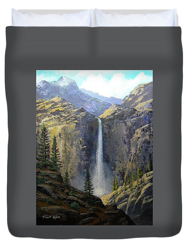 Frank Wilson Duvet Cover featuring the painting Sierra Nevada Waterfall by Frank Wilson
