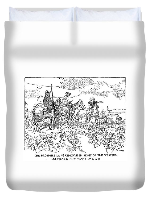 1743 Duvet Cover featuring the drawing Sieur De La Verendrye (1685-1749) by Granger