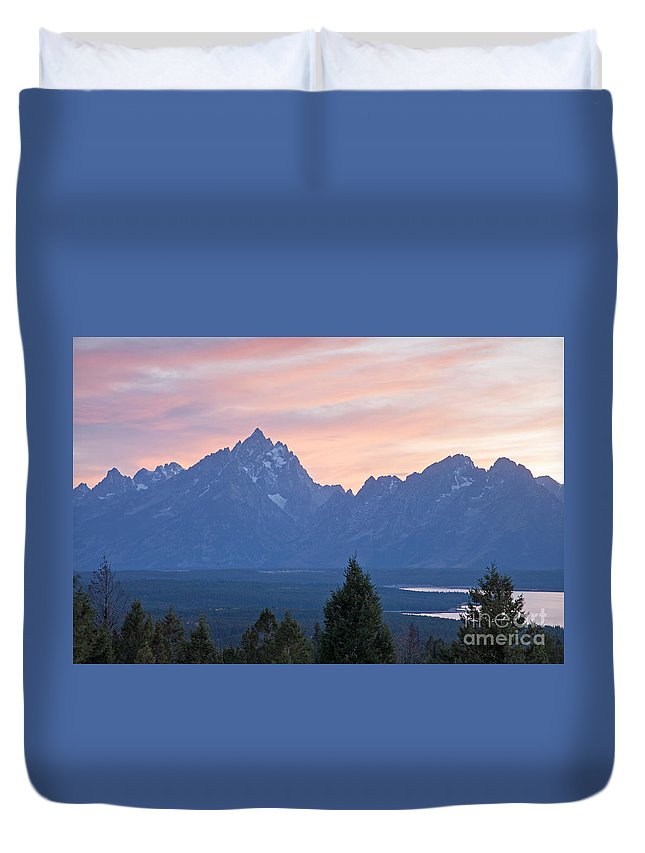 Grand Teton Np Duvet Cover featuring the photograph Signal Mountain Grand Teton National Park by Fred Stearns