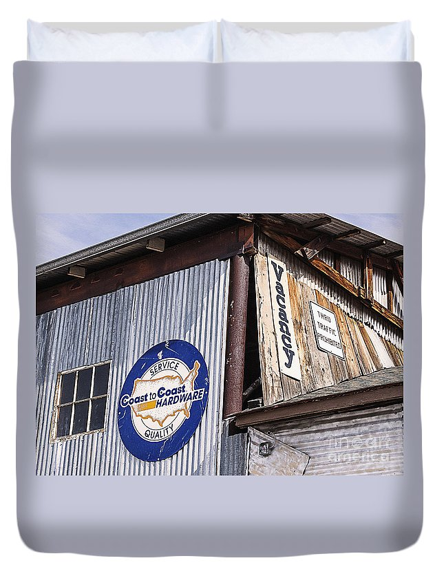 Sign Duvet Cover featuring the photograph Signs In Old Cottonwood by Janice Pariza