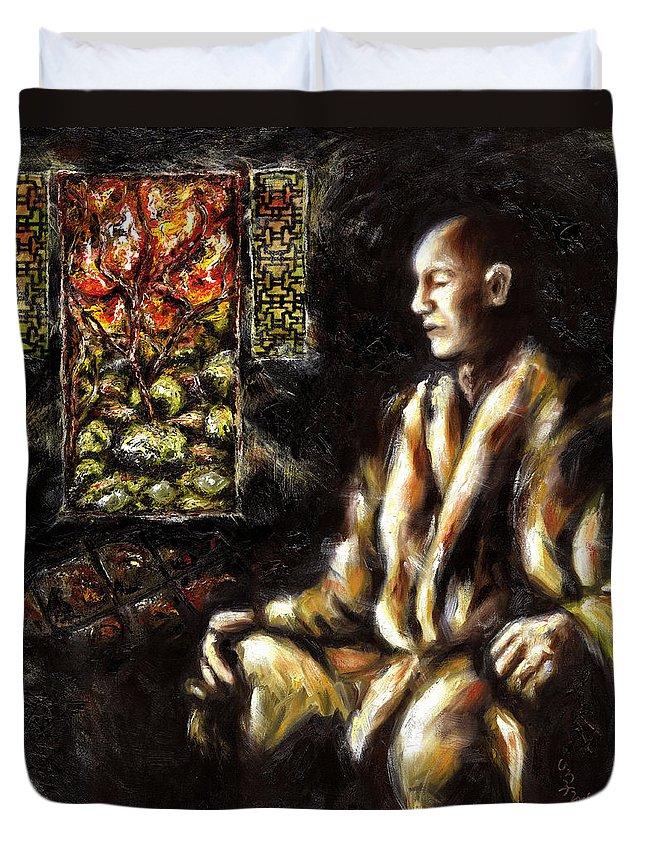 Zen Duvet Cover featuring the painting Silence by Hiroko Sakai