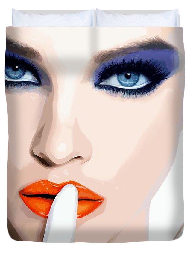Pretty Girl Duvet Cover featuring the digital art Silence - Pretty Faces Series by Gabriel T Toro