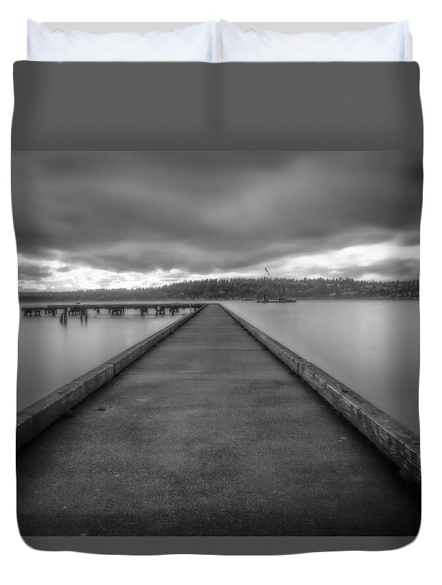 Lake Duvet Cover featuring the photograph Silent Dock by Charlie Duncan