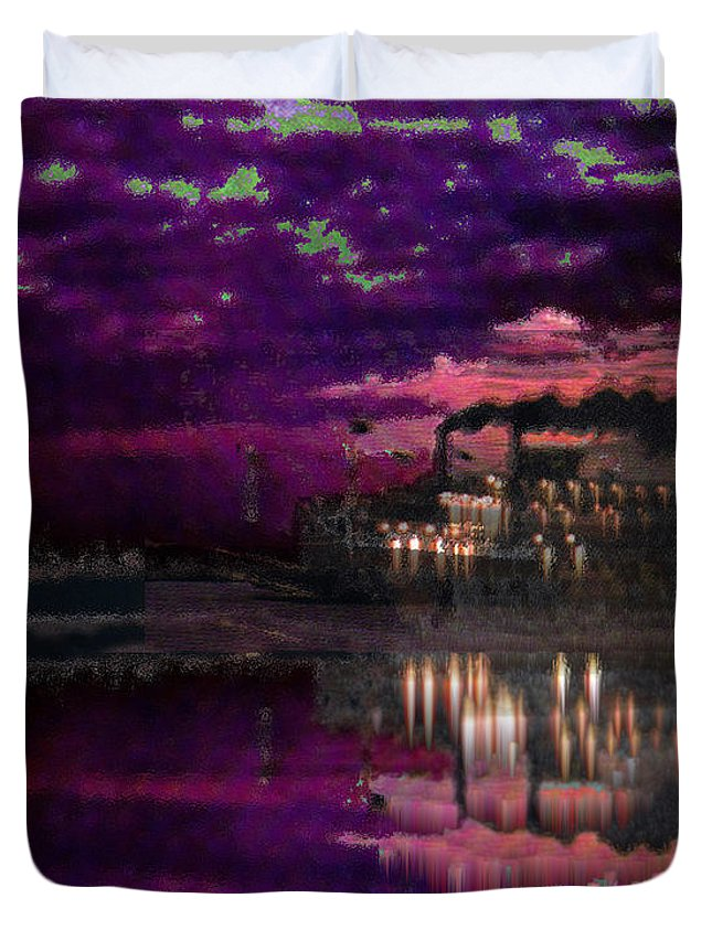 Silent River Duvet Cover featuring the digital art Silent River by Seth Weaver