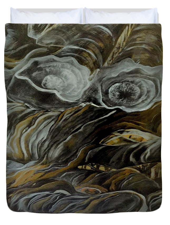 Acrylic Paintings Duvet Cover featuring the painting Silent Serpent 2 by Jodi Eaton