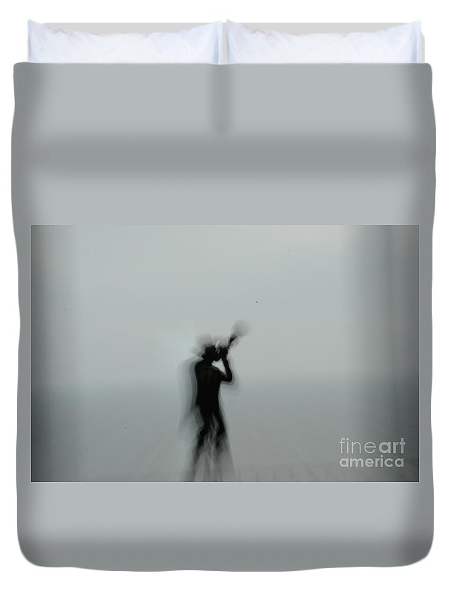 Kates Downtown Deli Duvet Cover featuring the photograph Silent Trumpeter by Randy J Heath