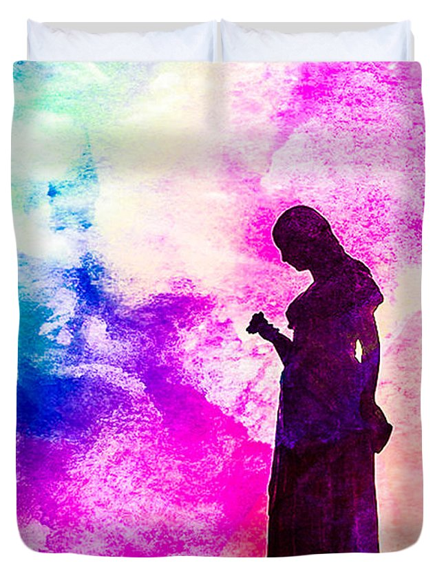 Colorful Duvet Cover featuring the digital art Silhouette by Algirdas Lukas