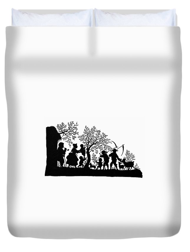 19th Century Duvet Cover featuring the painting Silhouette Family Life by Granger