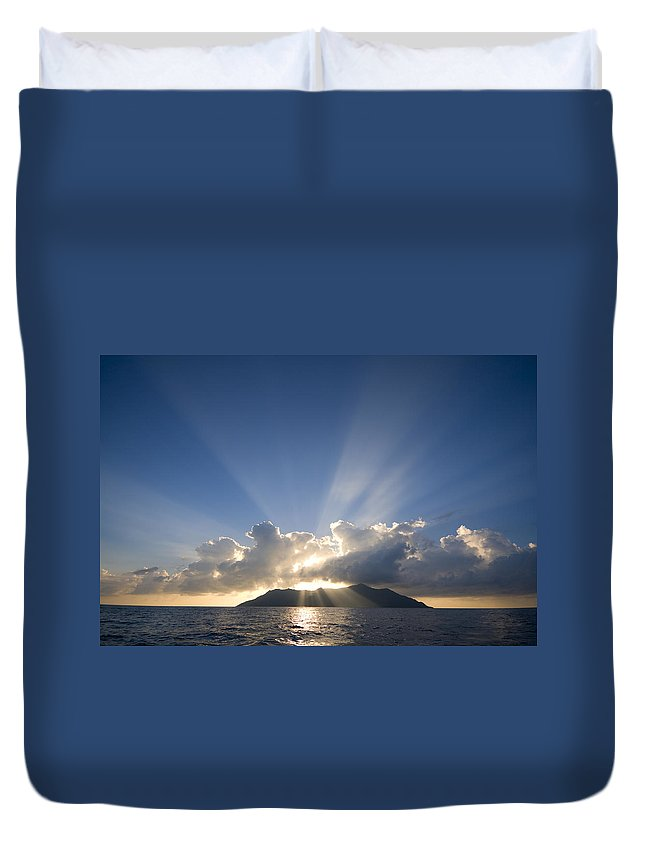 Silhouette Duvet Cover featuring the photograph Silhouette Island by Alexey Stiop